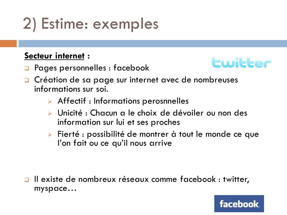 2) Estime: exemples Secteur internet : Pages personnelles : facebook Création de sa page sur internet avec de nombreuses informations sur soi. Affecti