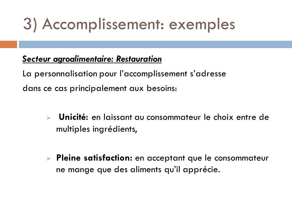 3) Accomplissement: exemples Secteur agroalimentaire: Restauration La personnalisation pour laccomplissement sadresse dans ce cas principalement aux b