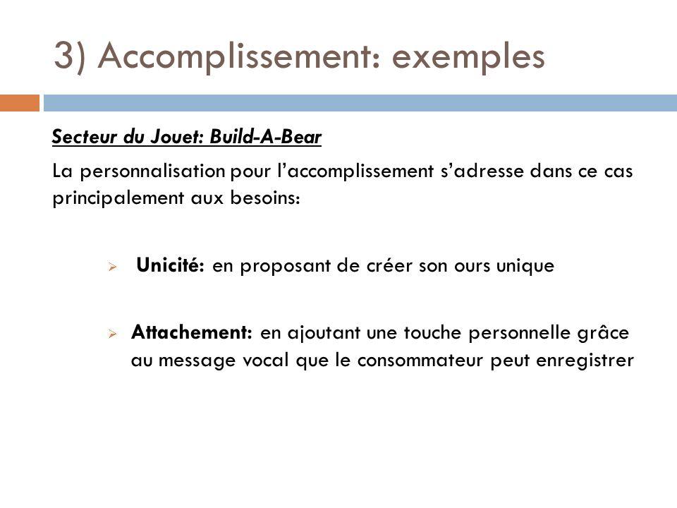 3) Accomplissement: exemples Secteur du Jouet: Build-A-Bear La personnalisation pour laccomplissement sadresse dans ce cas principalement aux besoins: