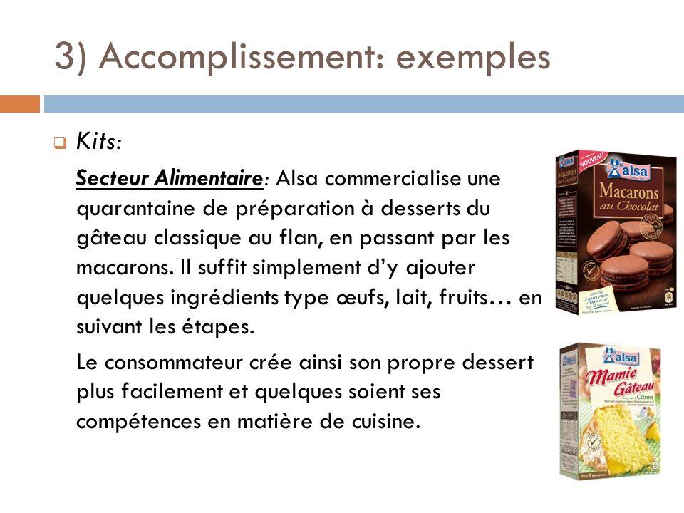 3) Accomplissement: exemples Kits: Secteur Alimentaire: Alsa commercialise une quarantaine de préparation à desserts du gâteau classique au flan, en p