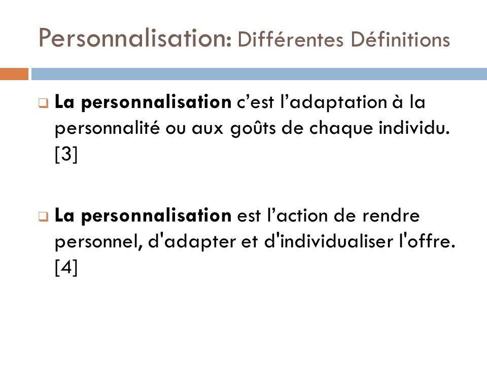 La personnalisation cest ladaptation à la personnalité ou aux goûts de chaque individu. [3] La personnalisation est laction de rendre personnel, d'ada