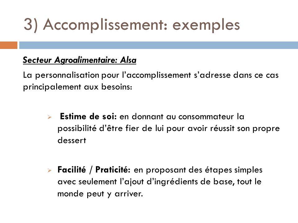 3) Accomplissement: exemples Secteur Agroalimentaire: Alsa La personnalisation pour laccomplissement sadresse dans ce cas principalement aux besoins: