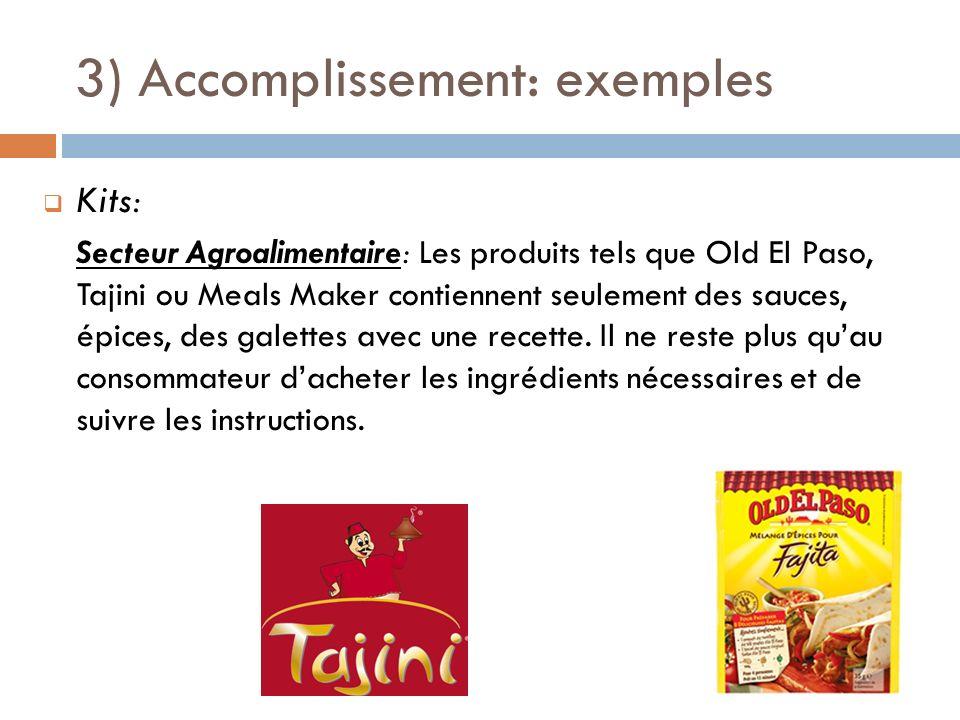 3) Accomplissement: exemples Kits: Secteur Agroalimentaire: Les produits tels que Old El Paso, Tajini ou Meals Maker contiennent seulement des sauces,