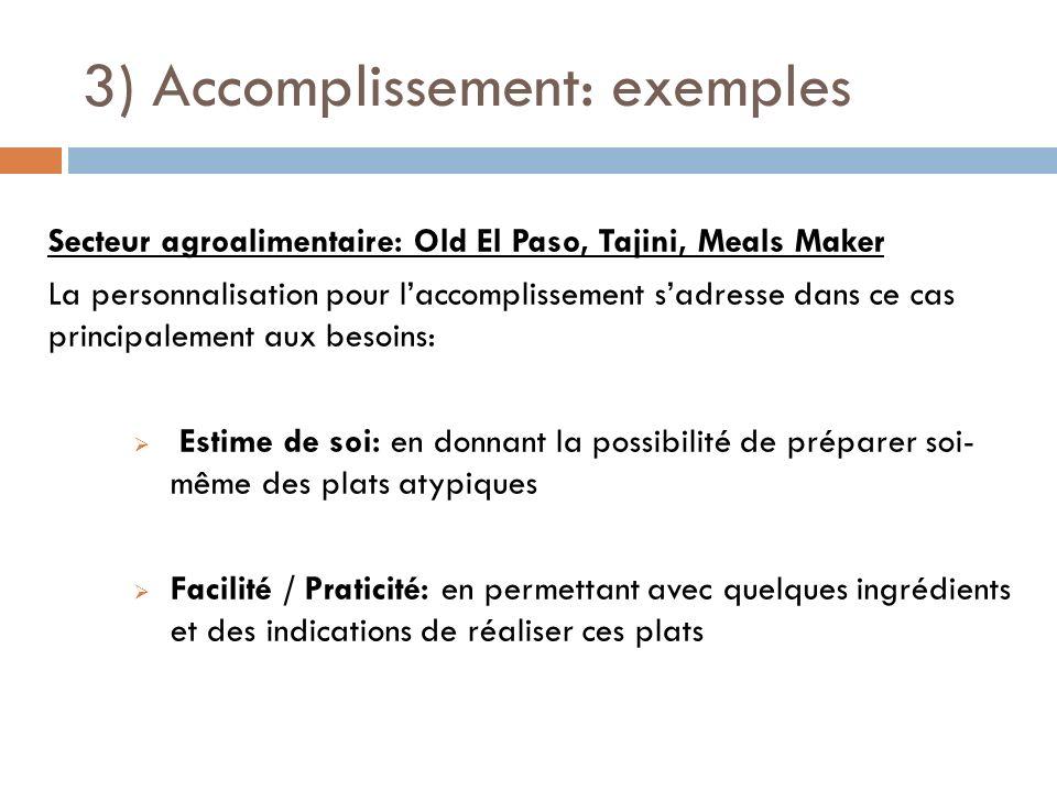 3) Accomplissement: exemples Secteur agroalimentaire: Old El Paso, Tajini, Meals Maker La personnalisation pour laccomplissement sadresse dans ce cas