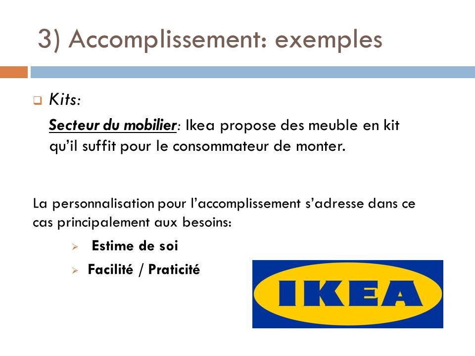 3) Accomplissement: exemples Kits: Secteur du mobilier: Ikea propose des meuble en kit quil suffit pour le consommateur de monter. La personnalisation