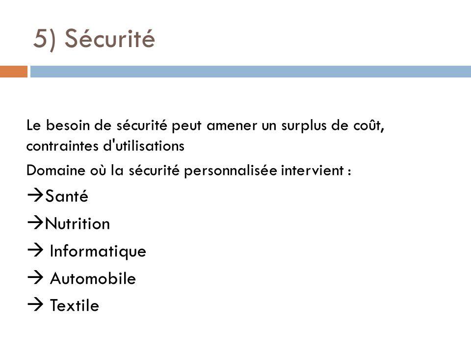 5) Sécurité Le besoin de sécurité peut amener un surplus de coût, contraintes d'utilisations Domaine où la sécurité personnalisée intervient : Santé N