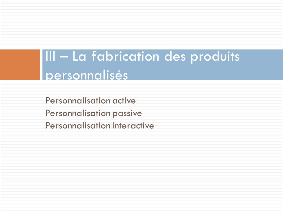 Personnalisation active Personnalisation passive Personnalisation interactive III – La fabrication des produits personnalisés