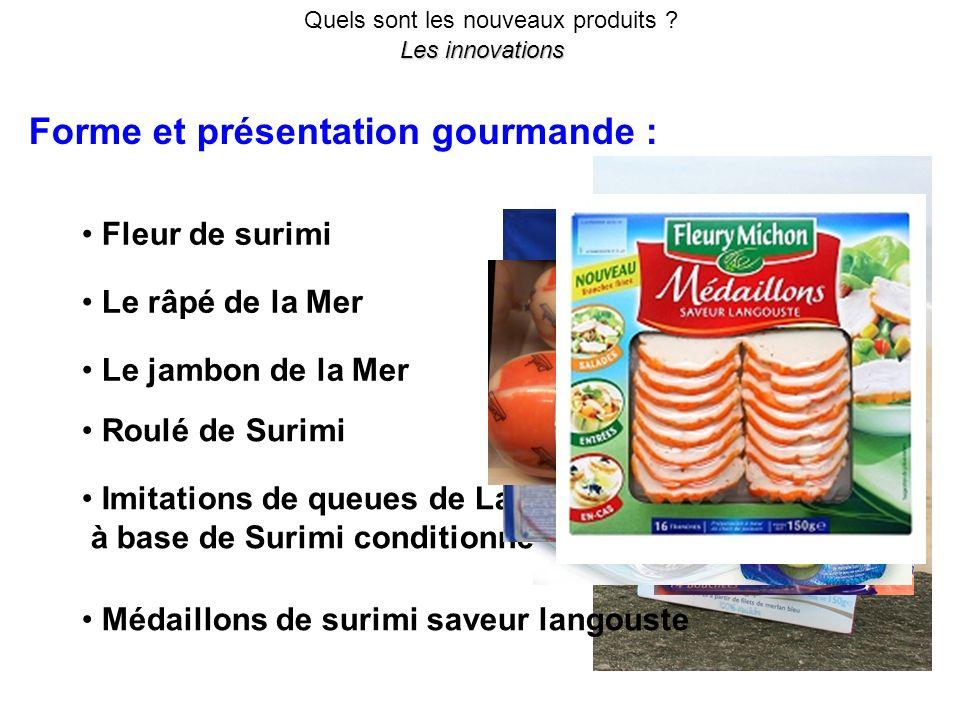 Quels sont les nouveaux produits ? Les innovations Forme et présentation gourmande : Fleur de surimi Le râpé de la Mer Le jambon de la Mer Roulé de Su