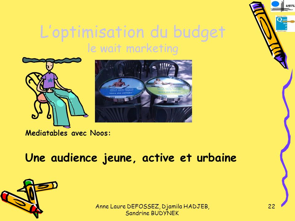 Anne Laure DEFOSSEZ, Djamila HADJEB, Sandrine BUDYNEK 22 Loptimisation du budget le wait marketing Mediatables avec Noos: Une audience jeune, active e