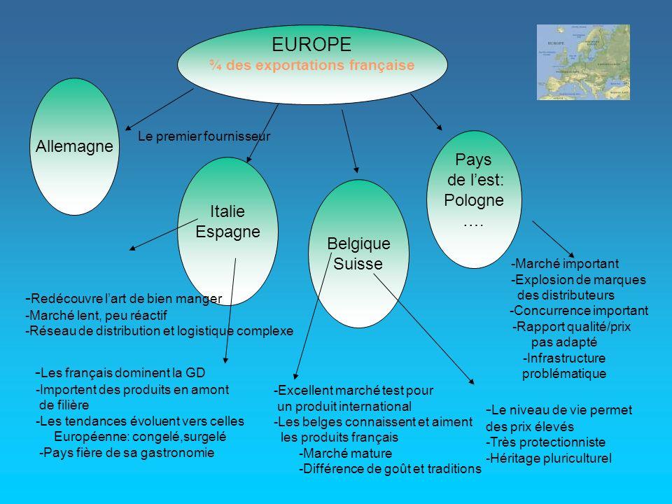 . EUROPE ¾ des exportations française Allemagne Italie Espagne Belgique Suisse Pays de lest: Pologne…. Le premier fournisseur -Marché important -Explo
