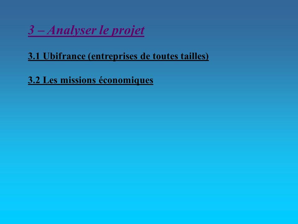 3 – Analyser le projet 3.1 Ubifrance (entreprises de toutes tailles) 3.2 Les missions économiques
