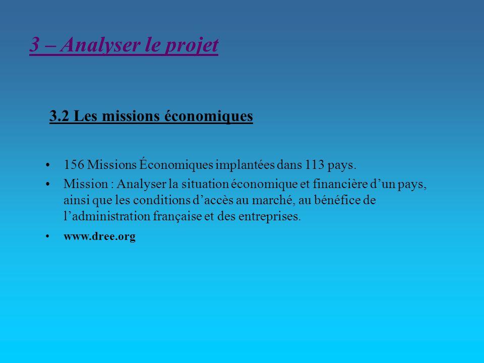 3.2 Les missions économiques 156 Missions Économiques implantées dans 113 pays. Mission : Analyser la situation économique et financière dun pays, ain