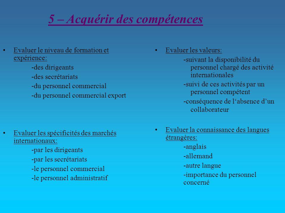5 – Acquérir des compétences Evaluer le niveau de formation et expérience: -des dirigeants -des secrétariats -du personnel commercial -du personnel co