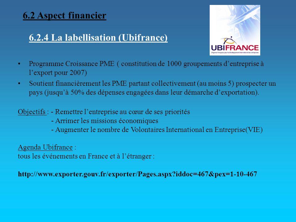 6.2.4 La labellisation (Ubifrance) Programme Croissance PME ( constitution de 1000 groupements dentreprise à lexport pour 2007) Soutient financièremen