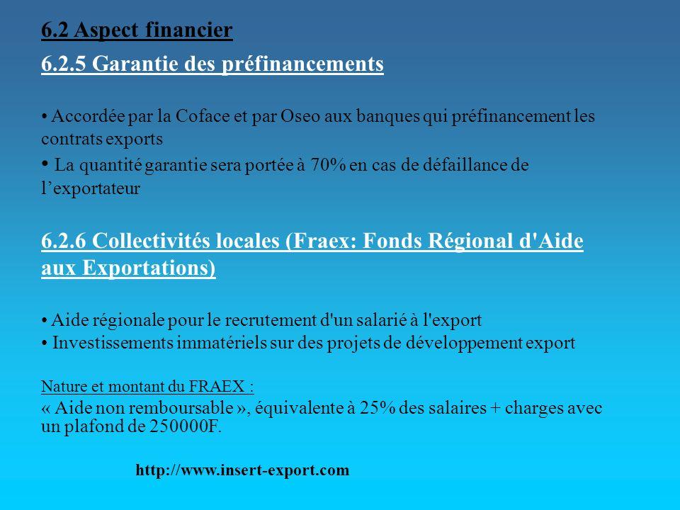 6.2.5 Garantie des préfinancements Accordée par la Coface et par Oseo aux banques qui préfinancement les contrats exports La quantité garantie sera po
