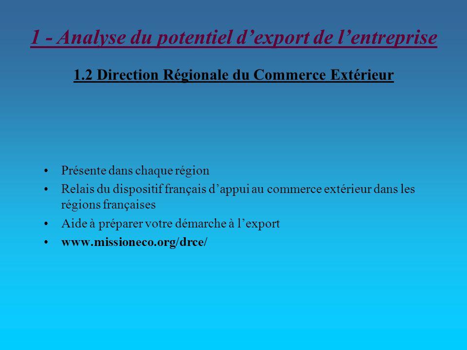 1.2 Direction Régionale du Commerce Extérieur Présente dans chaque région Relais du dispositif français dappui au commerce extérieur dans les régions