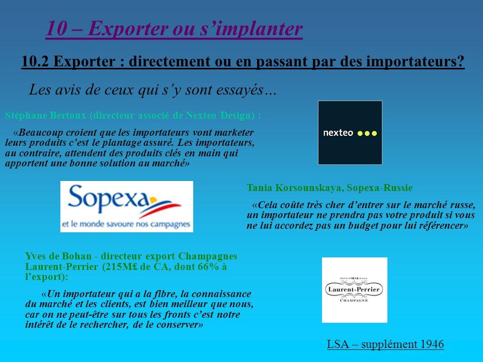 10 – Exporter ou simplanter 10.2 Exporter : directement ou en passant par des importateurs? Stéphane Bertoux (directeur associé de Nexteo Design) : «B