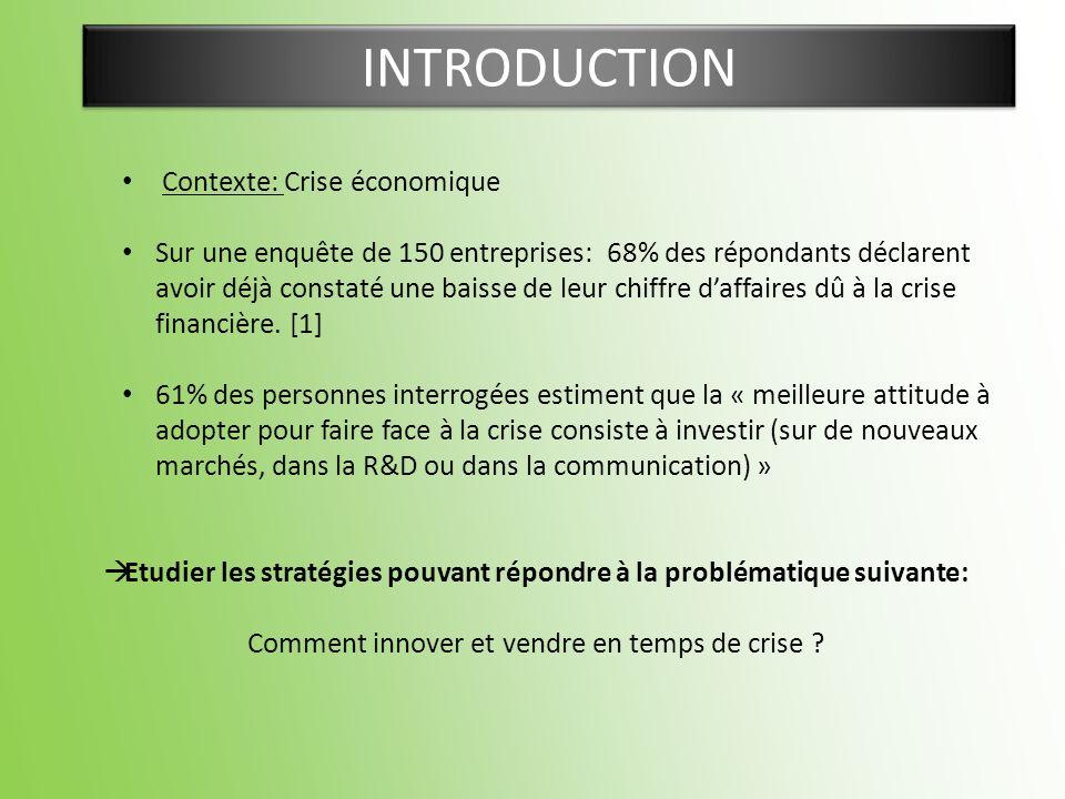 INTRODUCTION Contexte: Crise économique Sur une enquête de 150 entreprises: 68% des répondants déclarent avoir déjà constaté une baisse de leur chiffr