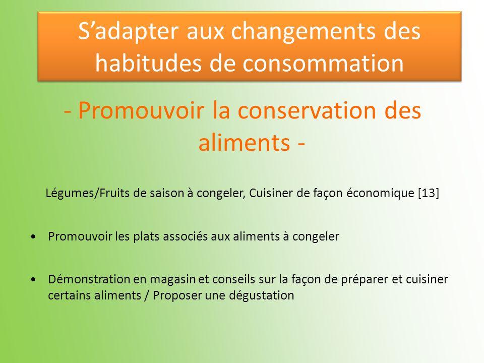 - Promouvoir la conservation des aliments - Légumes/Fruits de saison à congeler, Cuisiner de façon économique [13] Promouvoir les plats associés aux a