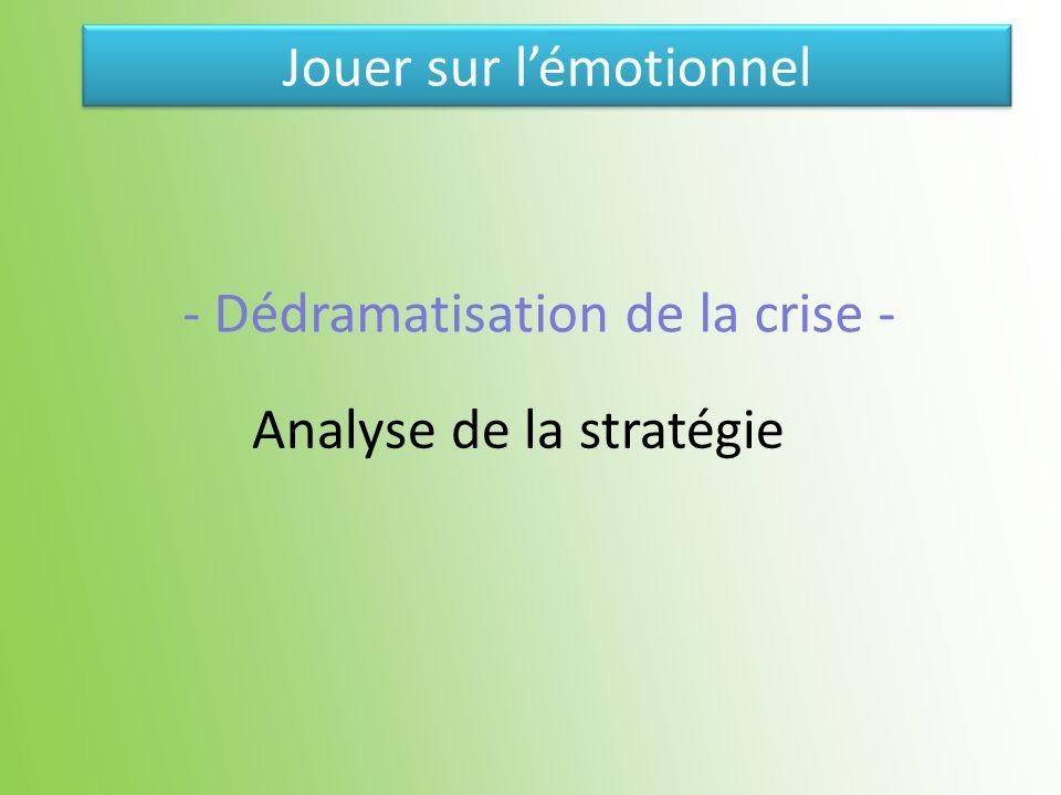 Analyse de la stratégie - Dédramatisation de la crise - Jouer sur lémotionnel