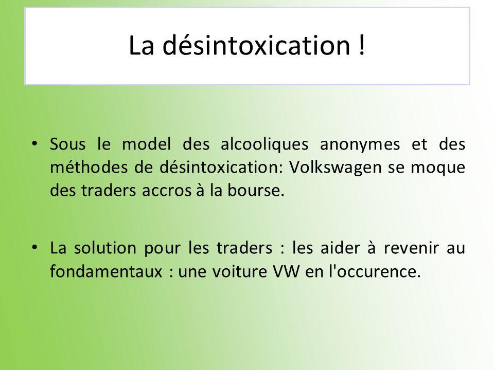 La désintoxication ! Sous le model des alcooliques anonymes et des méthodes de désintoxication: Volkswagen se moque des traders accros à la bourse. La