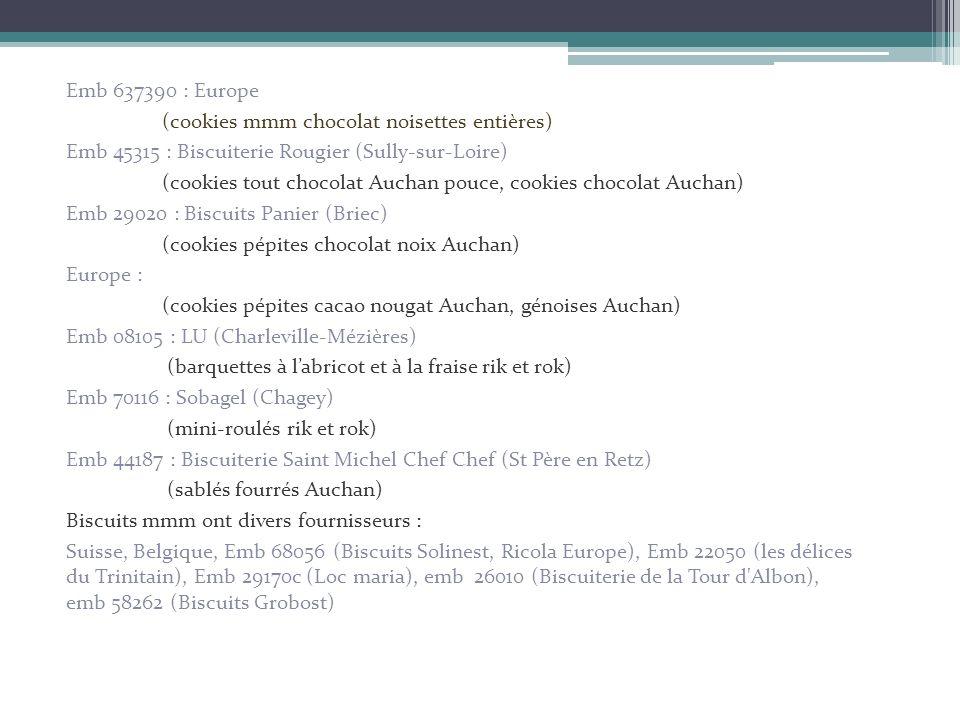 Emb 637390 : Europe (cookies mmm chocolat noisettes entières) Emb 45315 : Biscuiterie Rougier (Sully-sur-Loire) (cookies tout chocolat Auchan pouce, c