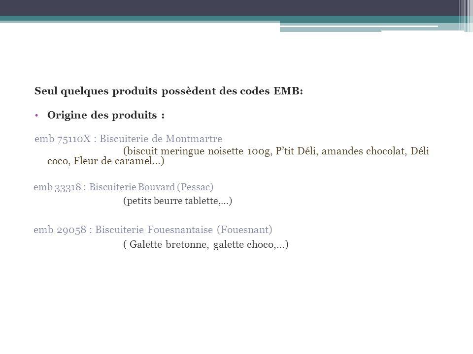 Seul quelques produits possèdent des codes EMB: Origine des produits : emb 75110X : Biscuiterie de Montmartre (biscuit meringue noisette 100g, Ptit Dé