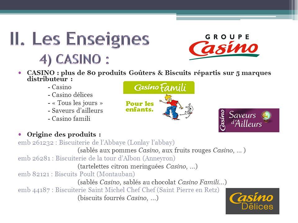 CASINO : plus de 80 produits Goûters & Biscuits répartis sur 5 marques distributeur : - Casino - Casino délices - « Tous les jours » - Saveurs dailleu
