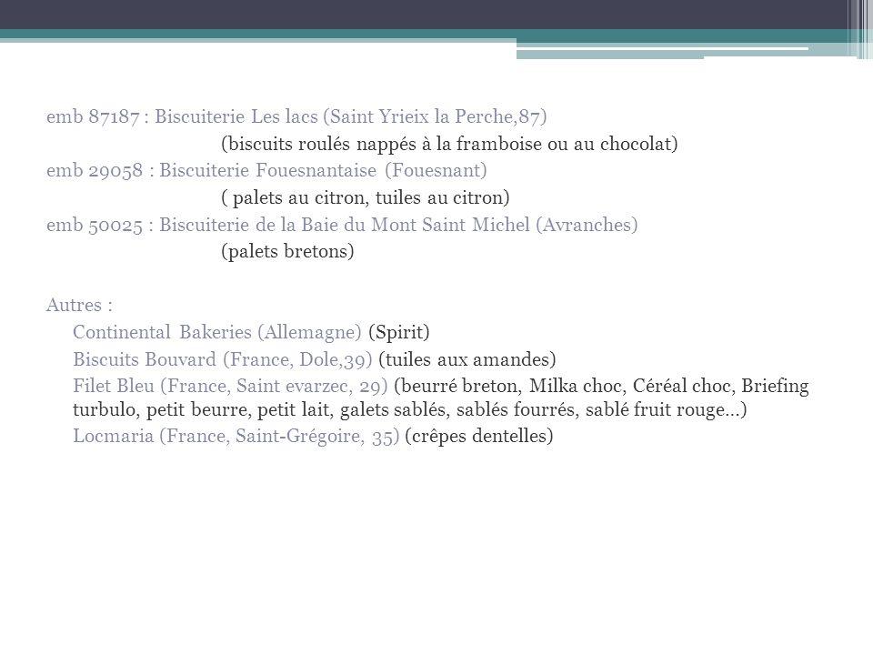 emb 87187 : Biscuiterie Les lacs (Saint Yrieix la Perche,87) (biscuits roulés nappés à la framboise ou au chocolat) emb 29058 : Biscuiterie Fouesnanta