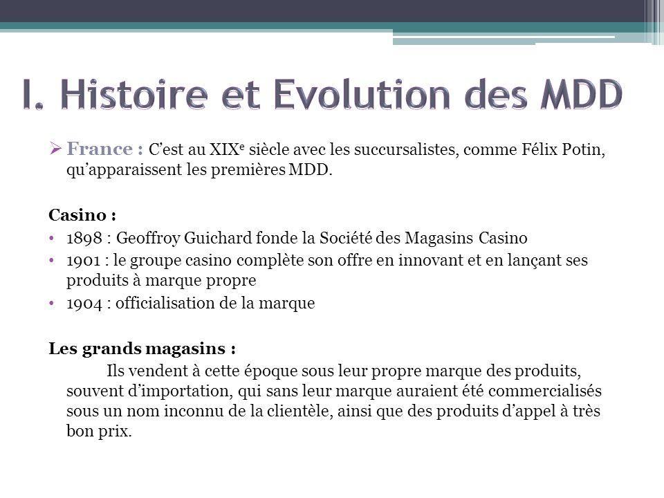 France : Cest au XIX e siècle avec les succursalistes, comme Félix Potin, quapparaissent les premières MDD. Casino : 1898 : Geoffroy Guichard fonde la