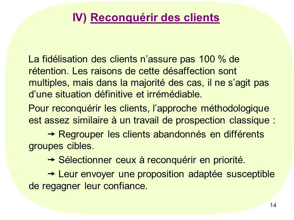 14 La fidélisation des clients nassure pas 100 % de rétention. Les raisons de cette désaffection sont multiples, mais dans la majorité des cas, il ne