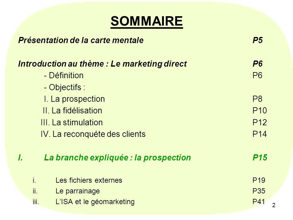 2 SOMMAIRE Présentation de la carte mentale P5 Introduction au thème : Le marketing directP6 - DéfinitionP6 - Objectifs : I. La prospectionP8 II. La f