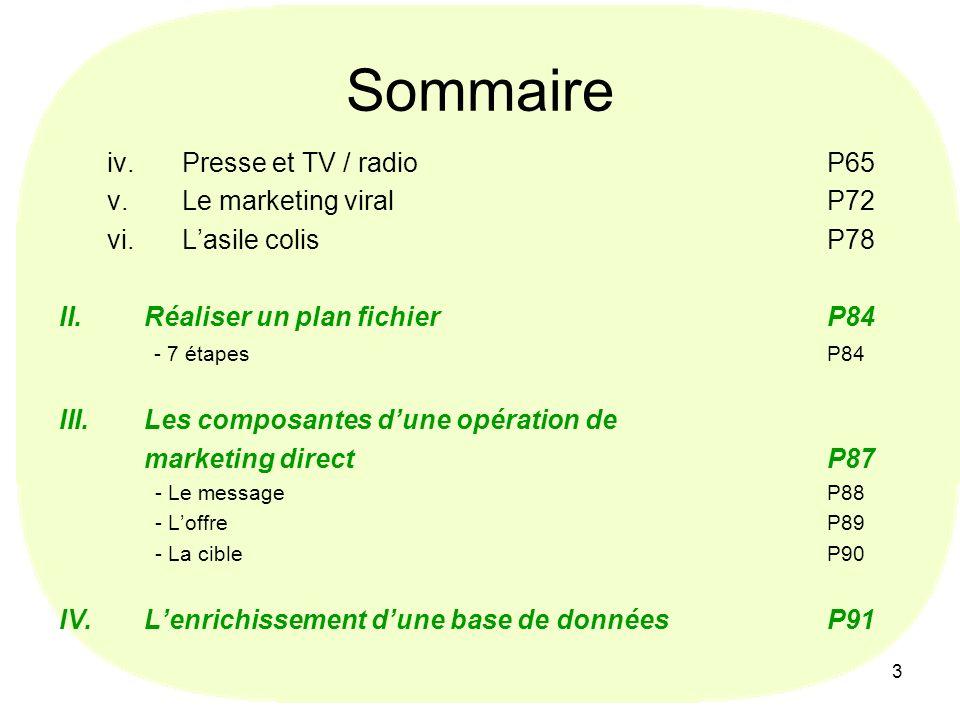 3 Sommaire iv.Presse et TV / radioP65 v.Le marketing viralP72 vi.Lasile colisP78 II.Réaliser un plan fichierP84 - 7 étapes P84 III.Les composantes dun