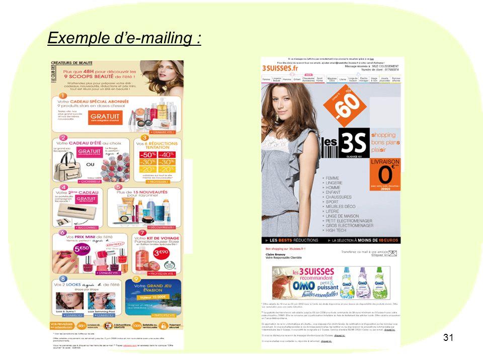 31 Exemple de-mailing :
