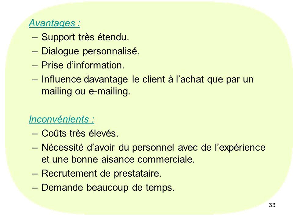 33 Avantages : –Support très étendu. –Dialogue personnalisé. –Prise dinformation. –Influence davantage le client à lachat que par un mailing ou e-mail