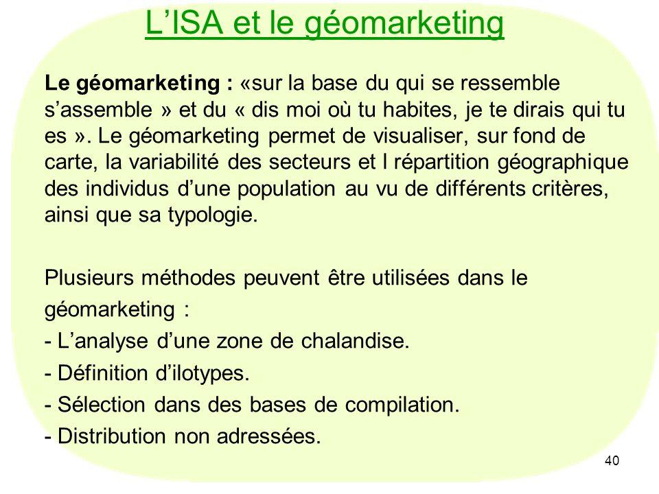 40 LISA et le géomarketing Le géomarketing : «sur la base du qui se ressemble sassemble » et du « dis moi où tu habites, je te dirais qui tu es ». Le