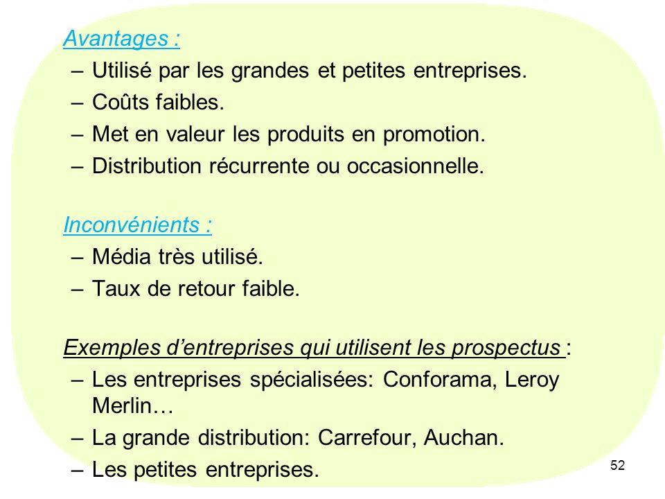 52 Avantages : –Utilisé par les grandes et petites entreprises. –Coûts faibles. –Met en valeur les produits en promotion. –Distribution récurrente ou