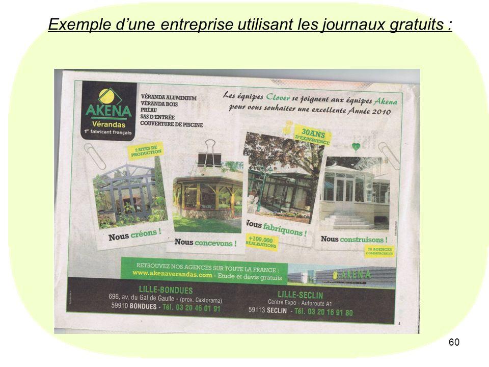 60 Exemple dune entreprise utilisant les journaux gratuits :