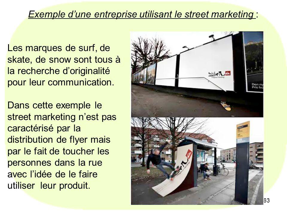 63 Exemple dune entreprise utilisant le street marketing : Les marques de surf, de skate, de snow sont tous à la recherche doriginalité pour leur comm