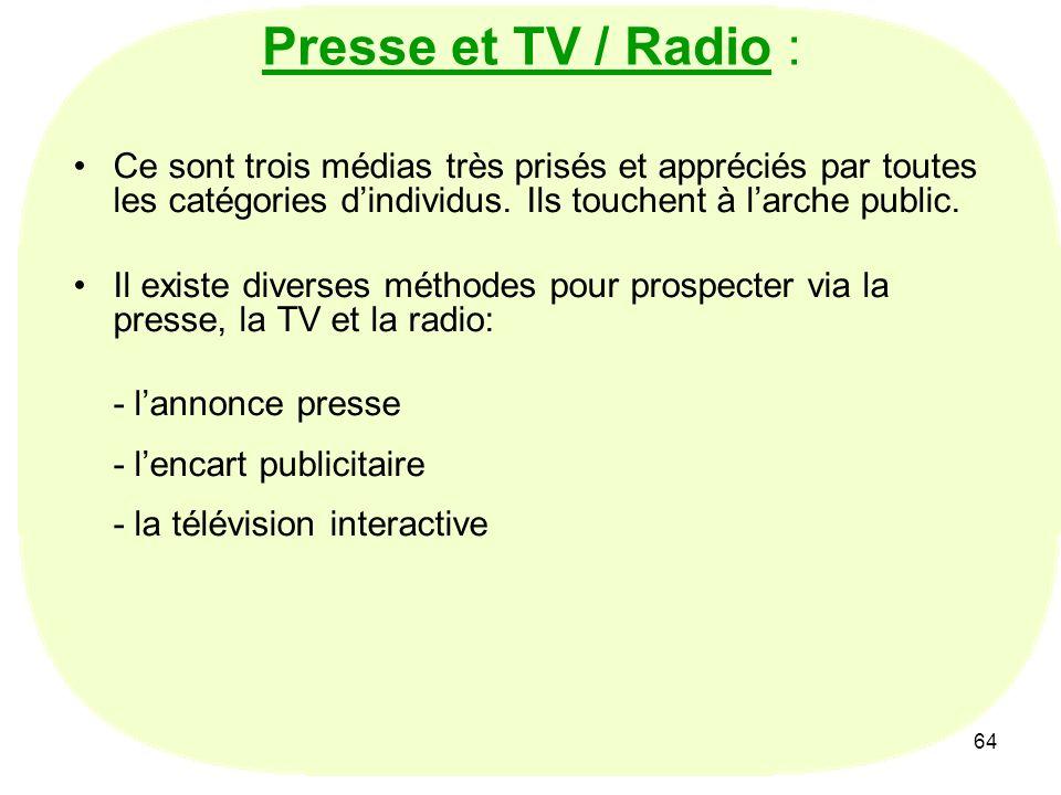 64 Presse et TV / Radio : Ce sont trois médias très prisés et appréciés par toutes les catégories dindividus. Ils touchent à larche public. Il existe