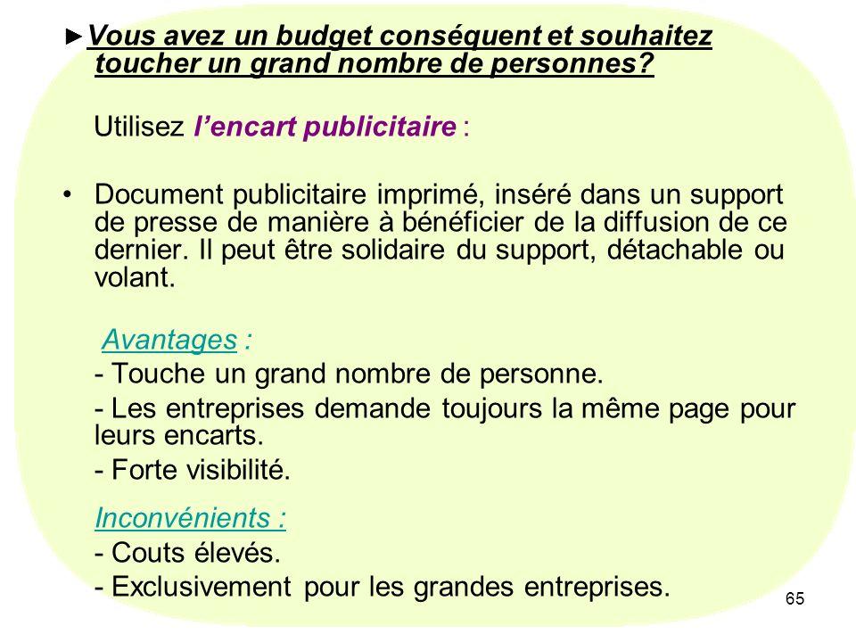 65 Vous avez un budget conséquent et souhaitez toucher un grand nombre de personnes? Utilisez lencart publicitaire : Document publicitaire imprimé, in