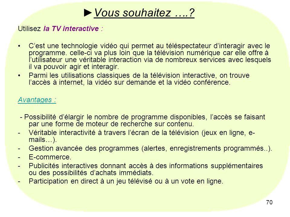 70 Vous souhaitez ….? Utilisez la TV interactive : Cest une technologie vidéo qui permet au téléspectateur dinteragir avec le programme. celle-ci va p