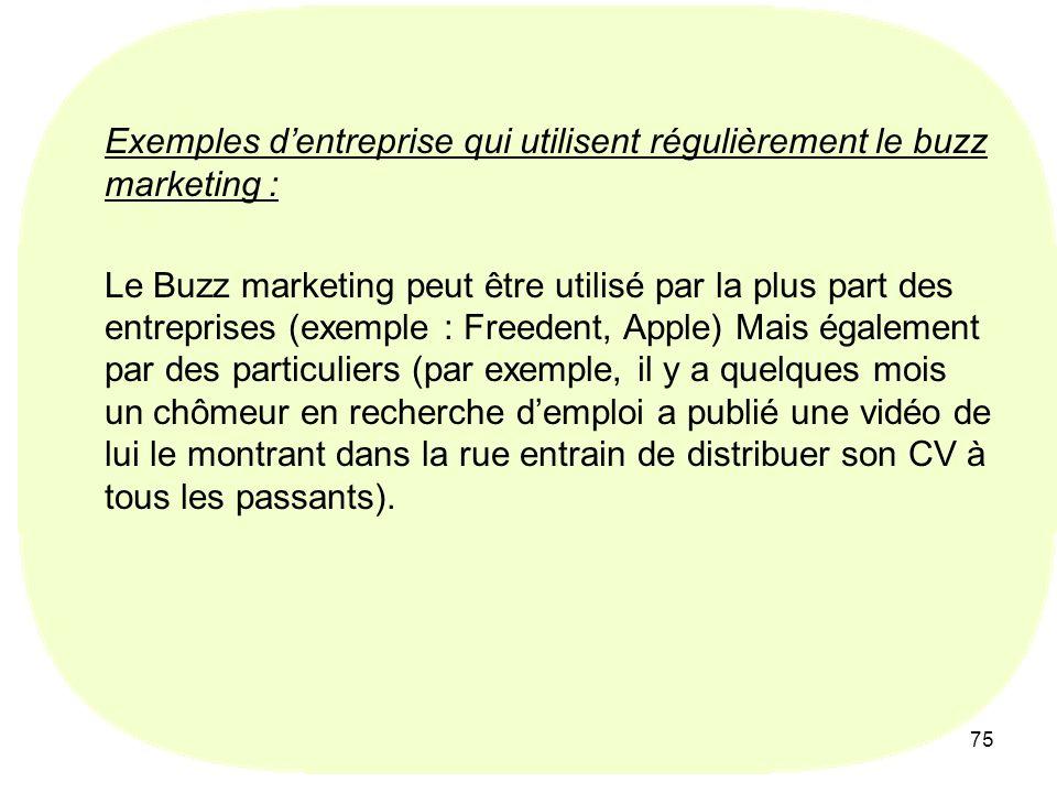 75 Exemples dentreprise qui utilisent régulièrement le buzz marketing : Le Buzz marketing peut être utilisé par la plus part des entreprises (exemple