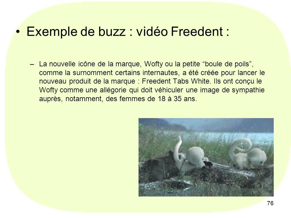 76 Exemple de buzz : vidéo Freedent : –La nouvelle icône de la marque, Wofty ou la petite boule de poils, comme la surnomment certains internautes, a été créée pour lancer le nouveau produit de la marque : Freedent Tabs White.