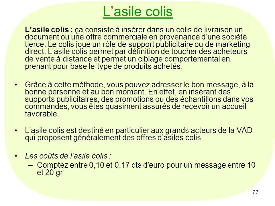 77 Lasile colis Lasile colis : ça consiste à insérer dans un colis de livraison un document ou une offre commerciale en provenance dune société tierce.