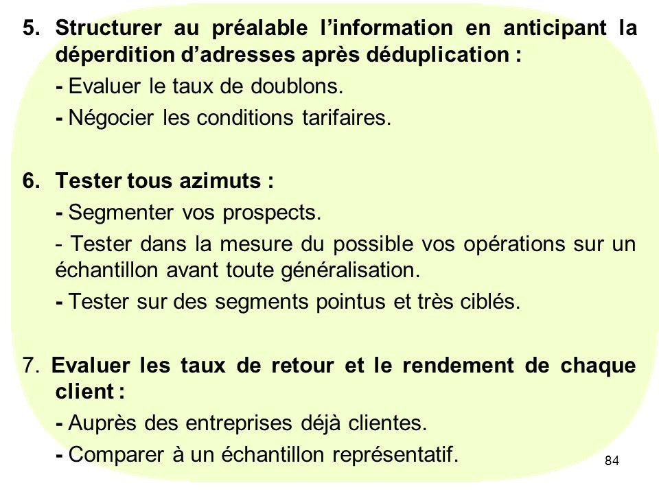 84 5.Structurer au préalable linformation en anticipant la déperdition dadresses après déduplication : - Evaluer le taux de doublons.