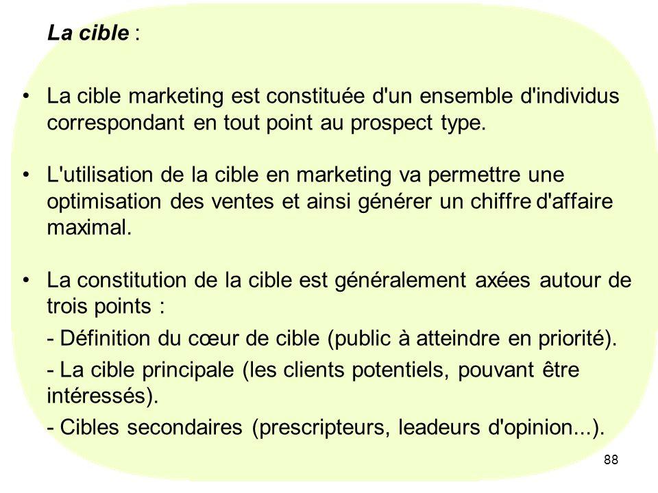 88 La cible : La cible marketing est constituée d'un ensemble d'individus correspondant en tout point au prospect type. L'utilisation de la cible en m