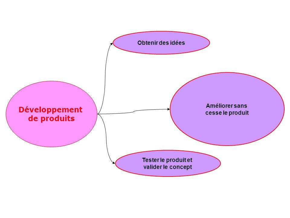 Développement de produits Améliorer sans cesse le produit Tester le produit et valider le concept Obtenir des idées