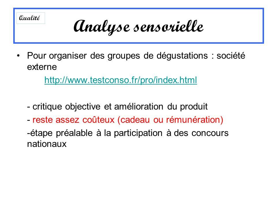 Pour organiser des groupes de dégustations : société externe http://www.testconso.fr/pro/index.html - critique objective et amélioration du produit -