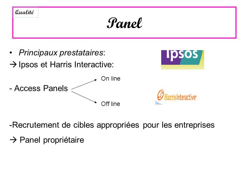 Principaux prestataires: Ipsos et Harris Interactive: - Access Panels On line Off line -Recrutement de cibles appropriées pour les entreprises Panel p
